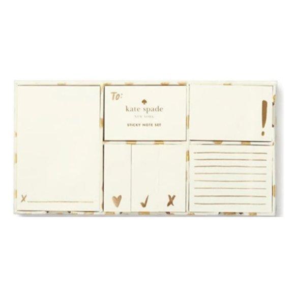 Kate Spade Gold & White Adhesive Note Set